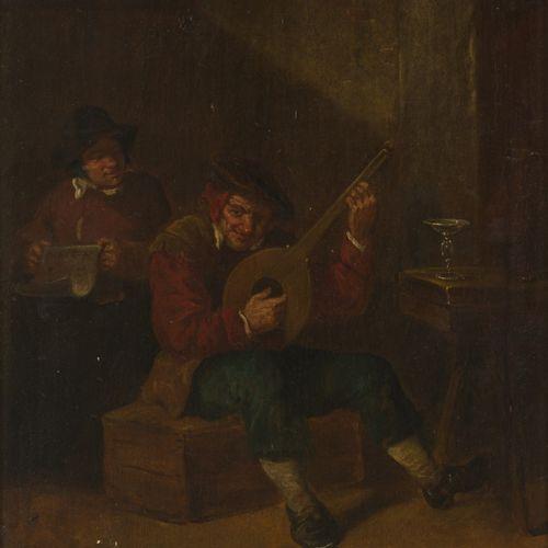 Follower of David Teniers II, A merry couple in an inn interior. 可追溯到19世纪。C. 面板上…