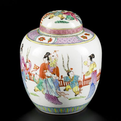 A porcelain ginger jar with decoration of playing children, marked Yongzheng, Ch…