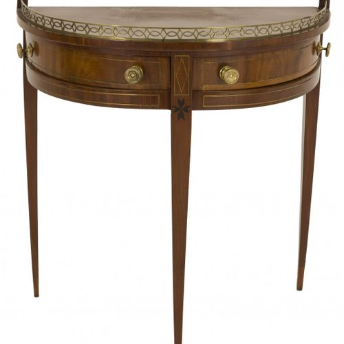 An Empire style demi lune / crescent table, Dutch, late 19th century. 桃花心木贴面,有廊带…