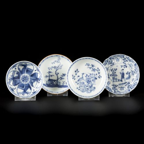 A lot comprised of (4) porcelain plates with floral decoration, China, 18th cent…