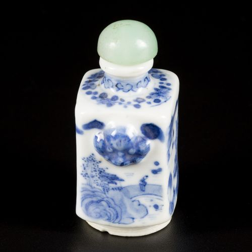 A porcelain snuff bottle with landscape decoration, marked Lingzhi, China, 19th …