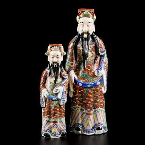 A lot comprising (2) porcelain famille rose figures of Fu Xing, China, 20th cent…