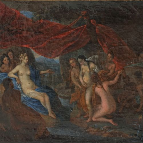 Circle of Cornelius van Poelenburgh (Utrecht 1594 1667), Diana bathing. 有收藏家编号(左…