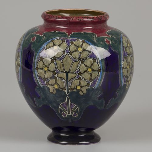 A polychrome painted earthenware vase with Jugendstil decoration, marked Rozenbu…