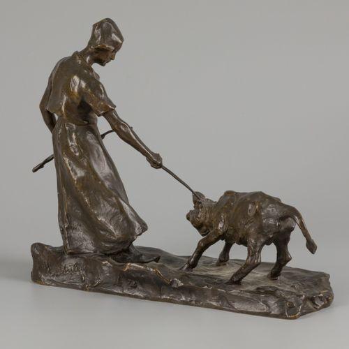 Heinz Müller (Münster 1872 1941 Düsseldorf), Farmer with reluctant calf, Germany…