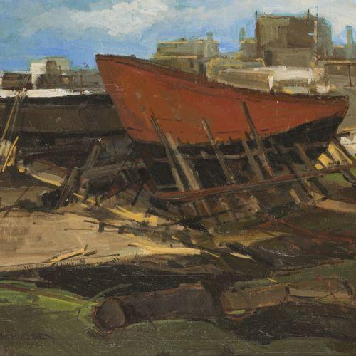 "Jan Michielsen (Breda 1939 – 2010), A slipway with ships hulls. . 签名,并注明 ""1992""(…"