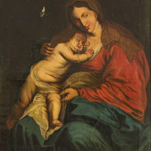 Follower of Jacob Jordaens, ca. 1800. Madonna and child. Huile sur toile, non en…