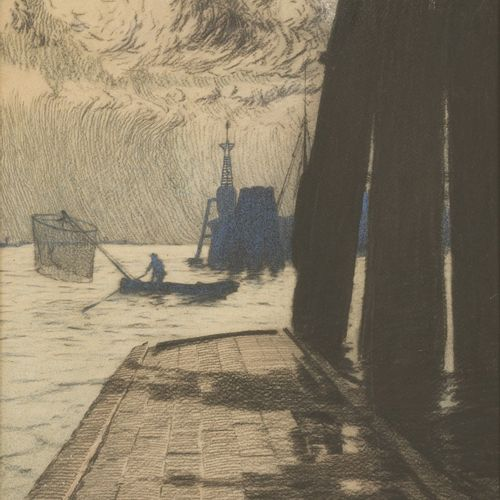 W. Fransen, first quarter 20th C. A fisherman in the harbours' entrance. 签名,并注明日…