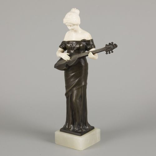 Ferdinand Lugerth (1885 1915), a bronze statuette of a guitar playing lady, Aust…