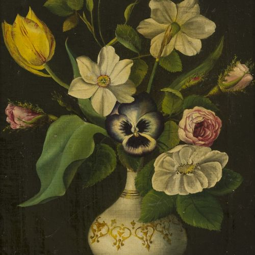 "Dutch School, ca. 1830, A still life with flowers in a vase. Signé ""G. Jamar"" (e…"