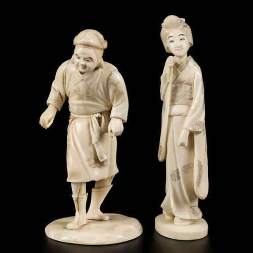 A lot with (2) ivory okimonos of a lady and a gentleman, Japan, late Meiji perio…
