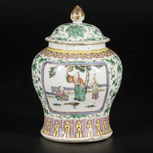 A porcelain lidded jar with famille rose decoration, China, 19th/20th century. D…