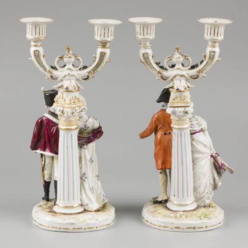 A set procelain candles with depiction of a lady and a gentleman, Volkstedt Rudo…