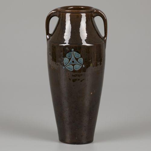 Chris van der Hoef for Amstelhoek brown glazed earthenware vase with medallion. …