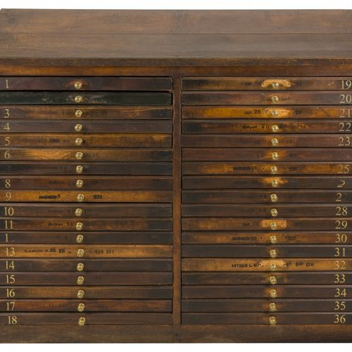 A pinewood typesetter cabinet, Germany, 19th century. 倾斜的顶部,上面有两个系列的抽屉,共36个,有黄铜把…