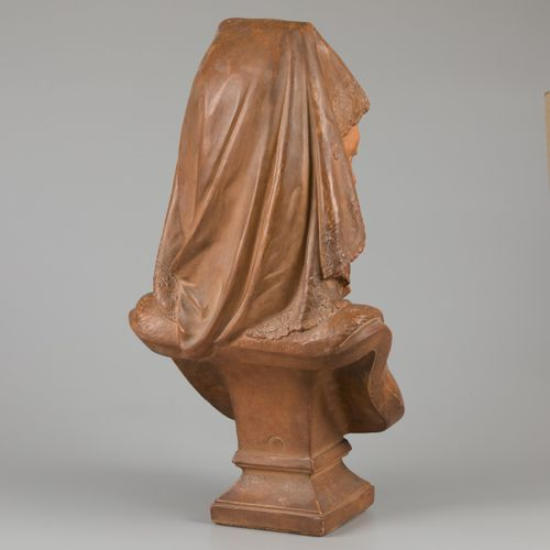 """A terracotta buste of a young woman in French local dress. Sigend """"Aizelin"""" Eugè…"""