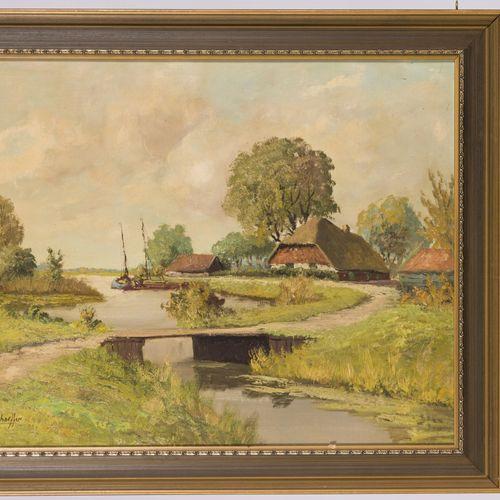 Jan Schaeffer (Rotterdam 1923 2018), A river landscape with farmhouses. Signé (e…
