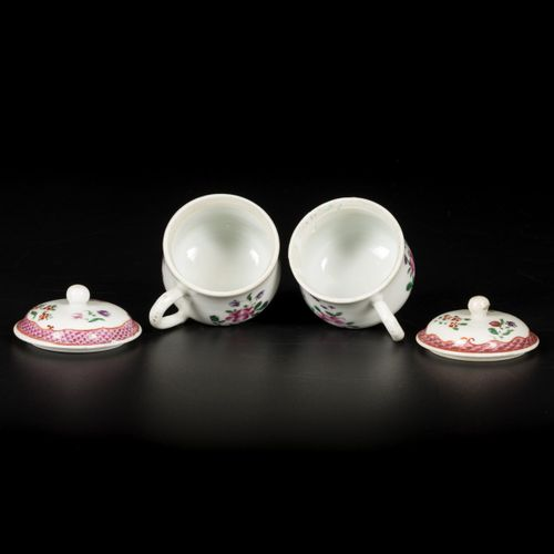 A set of (2) porcelain famille rose soup cups with handle and lid, China, 18th c…