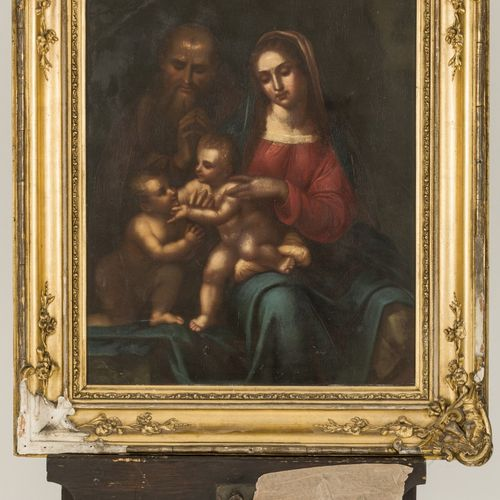 French School, 18th C. St. John the Baptist visiting the Holy Family. 铜上油彩。Dim.5…