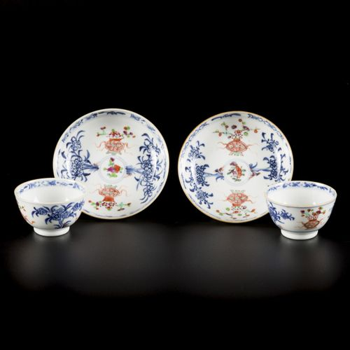 A set of (2) porcelain cups and saucers with famille rose decor, China, 18th cen…