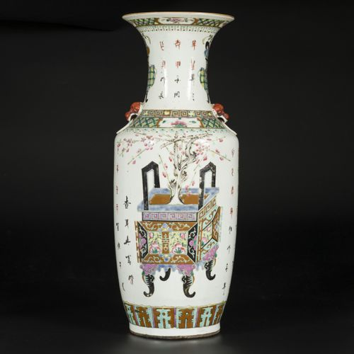 A porcelain Qiangjiang Cai vase with decoration of flowers in a vase, China, lat…