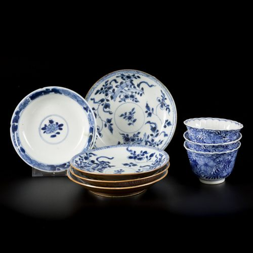 A lot comprised of (4) porcelain plates floral decoration with capuchin exterior…