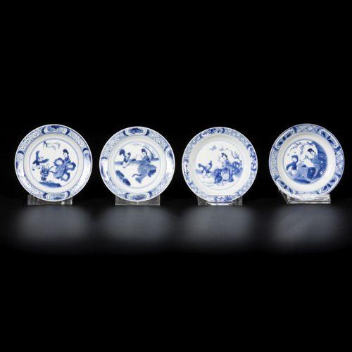 A lot of (4) porcelain plates with decoration of Long Eliza and a boy, China, Ka…