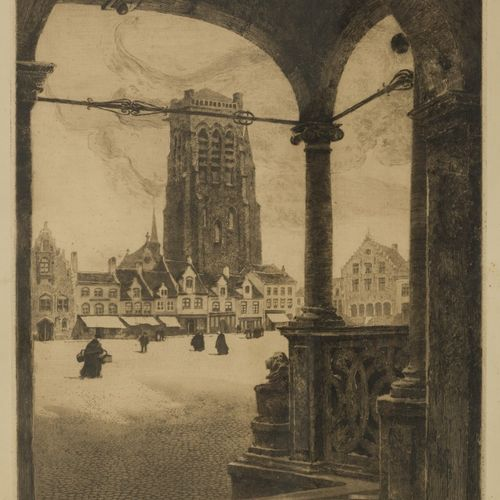 "Belgian School, 19th century. 带有教堂塔楼的城市广场景色,签名(右下),并注有标题,编号为 ""53/200""(左下),暗淡的蚀刻画…"