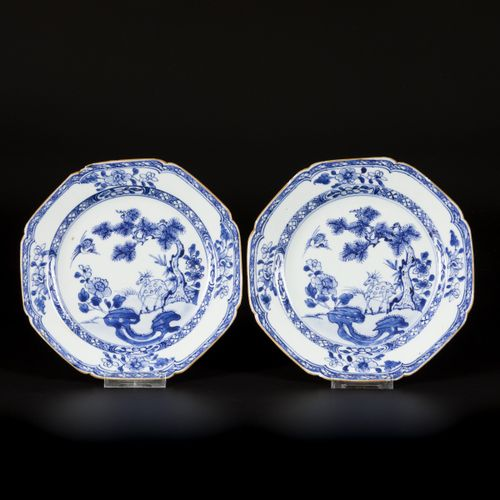 A set of (4) porcelain angled plates with pine tree and deer decor, China, 18th …