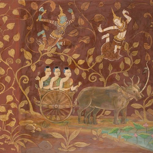 School of Laos, 20th C. Mythological scene with combattant Gods in a landscape. …