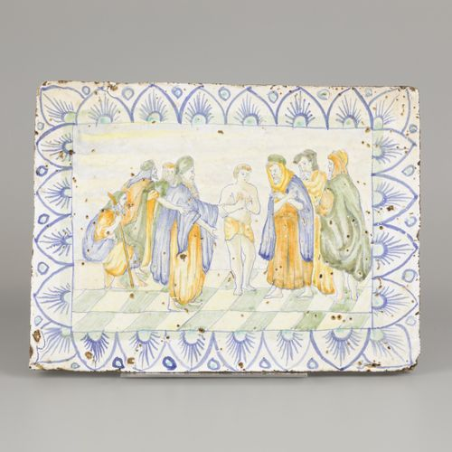 A polychromed glazed earthenware tile with Biblical scene, Portugal, 19th centur…