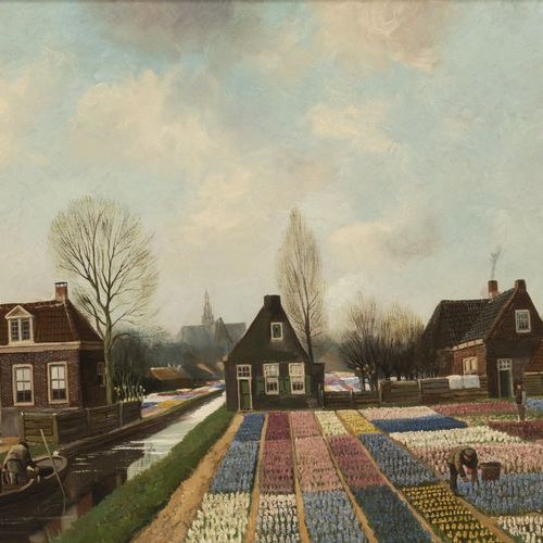 Jaap Wigersma (Noord 1877 1957 Haarlem), Labourors at work in the bulb fields. S…