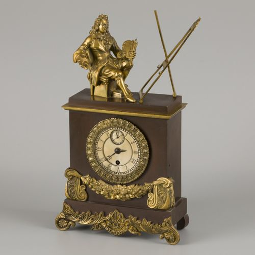 A bronze pendulum with personification of painting in early 18th century dress, …