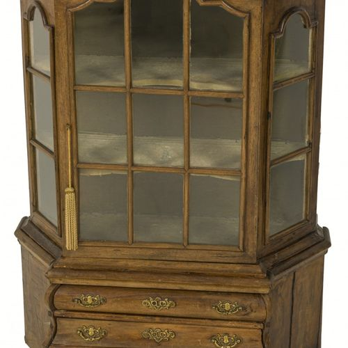 A miniature Louis XV style porcelain / display cabinet, master cabinetmakers' pi…