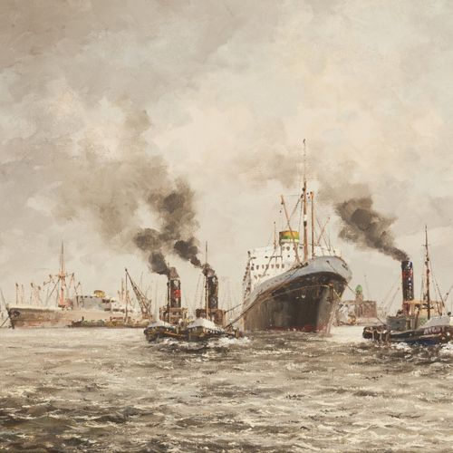 Sioem Schaeffer (Rotterdam 1924 2005), Tow boats pulling a ship of the Holland A…