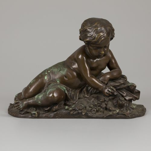 """Bronze """"Putto at the butterfly"""" N°2184, signed below """"BARBIER"""", France, late 19t…"""
