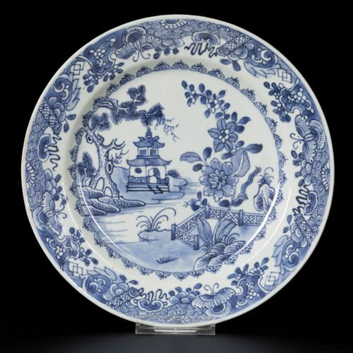 A porcelain colander plate and a porcelain plate with landscape decor, China, 18…