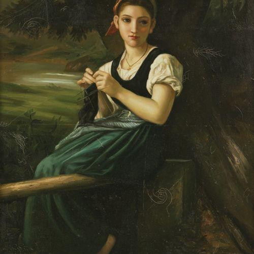 Naar William Adolphe Bouguereau (La Rochelle 1825 1905), Girl Knitting 编织女孩》是十九世…