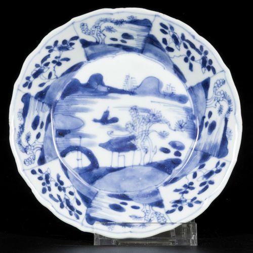 A lot comprising (3) porcelain plates with decor of river landscapes, serrated m…