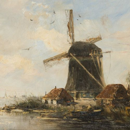 Hobbe Smith (Witmarsum 1862 1942 Amsterdam), A windmill on the waterfront. 签名(左下…