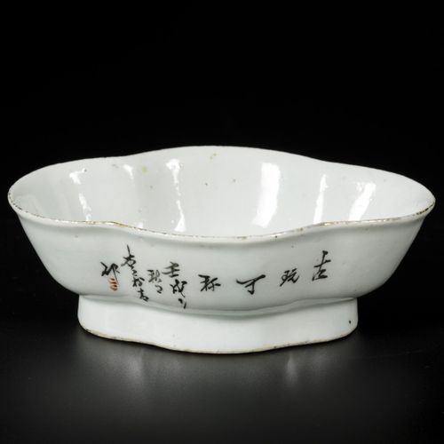 A porcelain Qiang jiang Cai dish with decor of antiques, China, late 19th centur…