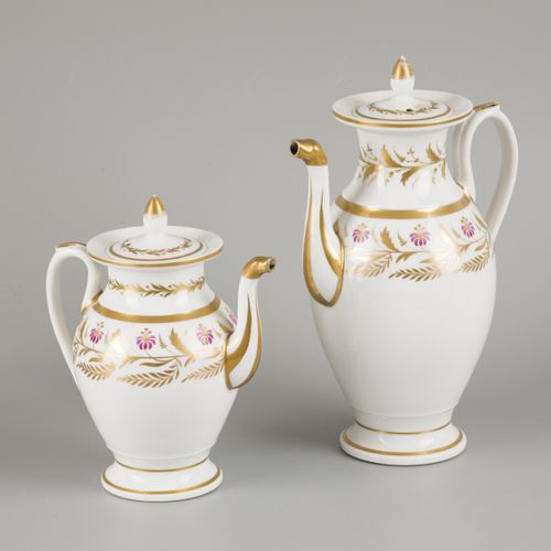 A porcelain coffee/tea set with floral decorations, France, early 19th century. …
