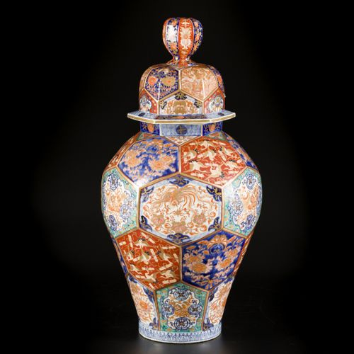 A porcelain Arita lidded vase with floral decoration in compartments, Japan, 19t…