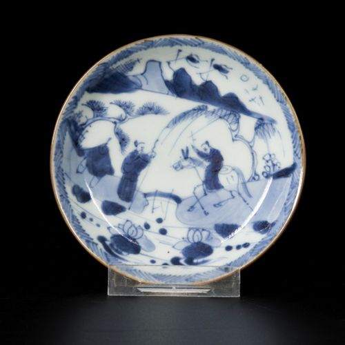 A porcelain plate decorated with figures in a landscape, China, 18th century. 直径…