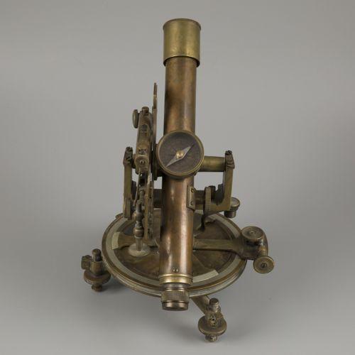 A brass surveyors' spirit level instrument with compass (transit/ theodolite), G…