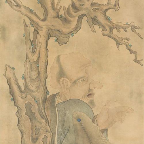 A Chinese print of a scribe under a tree, ca. 1900. Dim. : 120 x 53 cm. Estimati…