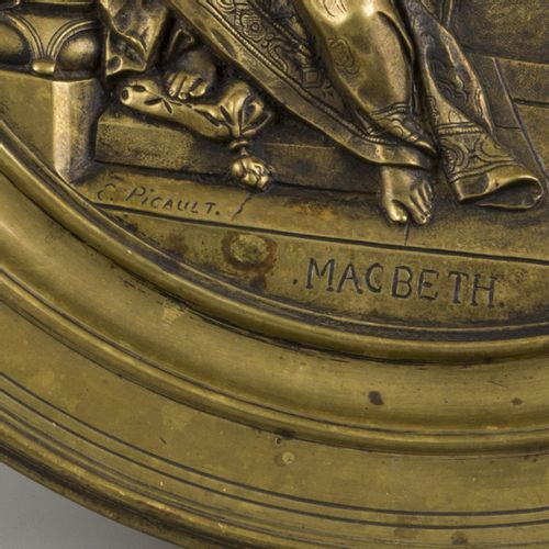 A bronze tazza with decor depicting a scene from 'Macbeth', England, ca. 1930. A…