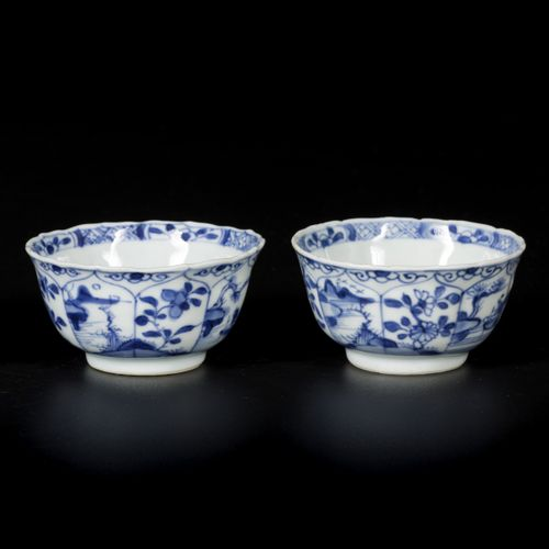A set of (5) porcelain bowls with floral and landscape decoration, China, Kangxi…