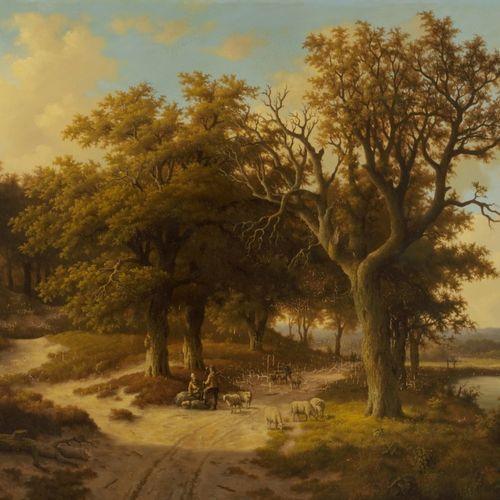 Ron Meilof (Hilversum 1933 2016 Hijken), A shepherd on a sandy track by a river.…