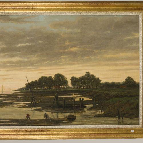 Edouard Bolsius, 19e eeuw. A fish trapper in a river landscape at dusk. 签名(右下角,另…